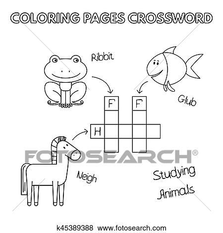 Funny Animals Coloring Book Crossword Clip Art | k45389388 ...