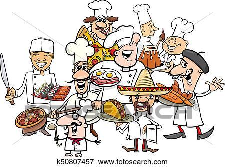 Clip Art - internationale küche, chefs, gesellschaft, karikatur ...