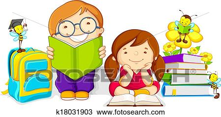 clipart of kids studying k18031903 search clip art illustration rh fotosearch com studying clipart images studying clipart black and white