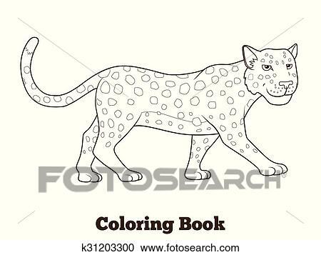 Clipart - libro colorear, leopardo, africano, sabana, animal ...