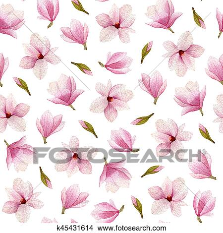 Dessins Magnolia Fleurs Aquarelle Seamless Pattern Main