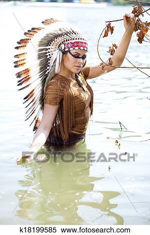 Coleccion De Imagen Mujer En Disfraz De Indio Americano - Disfraz-india-americana