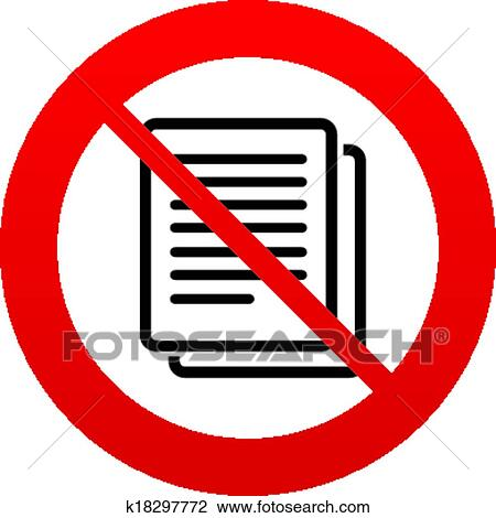 Clipart Of No Copy File Sign Icon Duplicate Document Symbol
