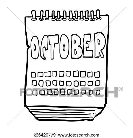 Schwarz Weiß Freehand Gezeichnet Karikatur Kalender Ausstellung