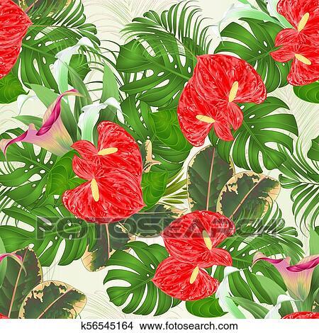 Seamless Textura Arreglo Floral Ramo Con Flores Tropicales Lirios Vector Eps Clipart