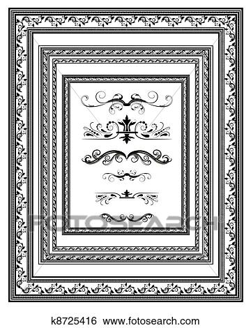 Clip Art of set of vintage frames for diplomas k8725416 - Search ...