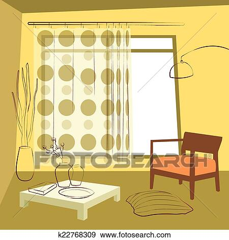 Clip Art Of The Dining Room Curtains K22768309