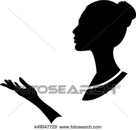 Vetorial Illustration Desenho Silueta Perfil De Senhora