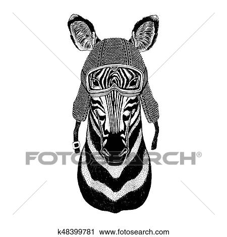 be5bd49fb Clip Art - Zebra Horse wearing vintage motorcycle helmet Tattoo
