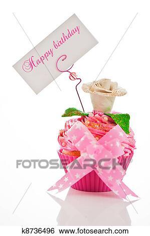 A Beau Rose Joyeux Anniversaire Petit Gâteau à Fleur Et A étiquette Pour Ton Texte Blanc Fond Comme Projectile Studio Banque
