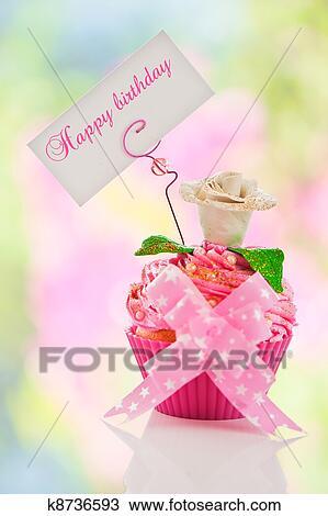 Zeichnung A Schon Rosa Alles Gute Geburtstag Cupcake Mit