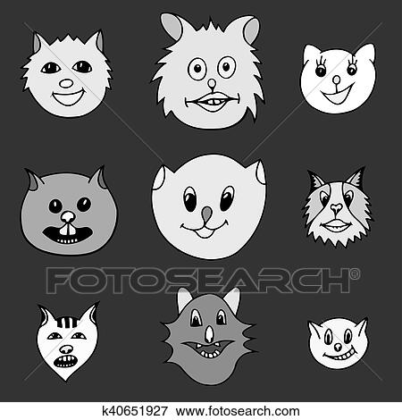 Stock Illustration Of Adorable Cartoon Cats Faces K40651927 Search