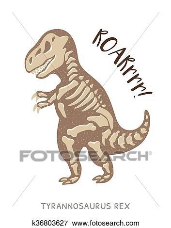 Clip Art Of Cartoon Tyrannosaurus Rex Dinosaur Fossil Vector
