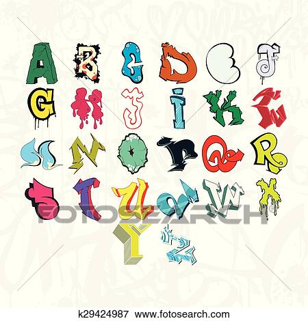 Colorful Graffiti Font Alphabet Letters Hip Hop Grafitti Design Clip Art K29424987 Fotosearch Free for commercial use no attribution required high quality images. colorful graffiti font alphabet letters