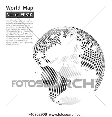 Clip art of dotted world map background earth globe globalization clip art dotted world map background earth globe globalization concept black and gumiabroncs Gallery