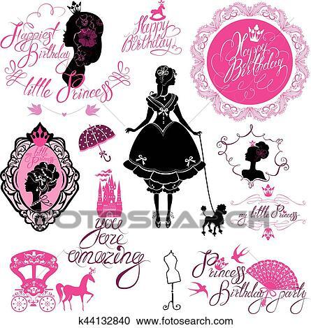 Ensemble De Charme Princesse Château Voiture Noir Rose Silhouette Blanc Arrière Plan Manuscrit Texte Joyeux Anniversaire Vous Are