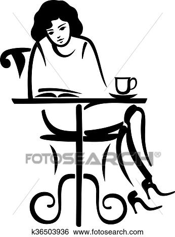 Girl Reading In A Cafe Clip Art K36503936