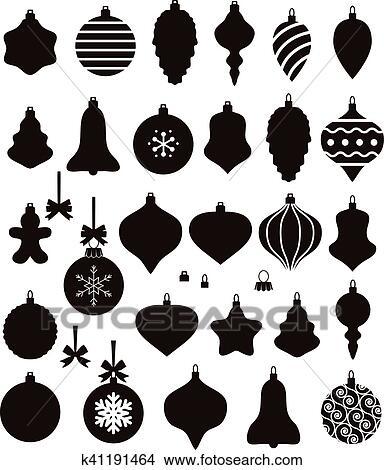 clipart vektor schwarz wei sammlung von weihnachtskugel formen k41191464 suche clip. Black Bedroom Furniture Sets. Home Design Ideas