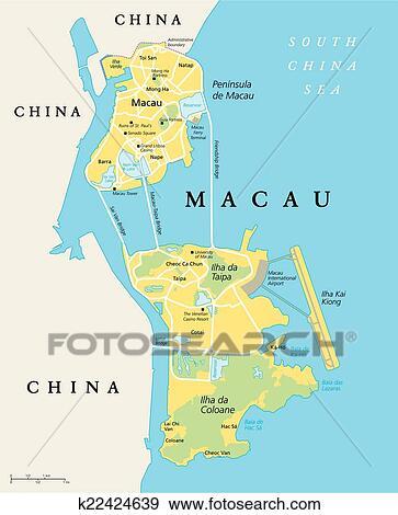 Macau On World Map.Clip Art Of Macau Political Map K22424639 Search Clipart