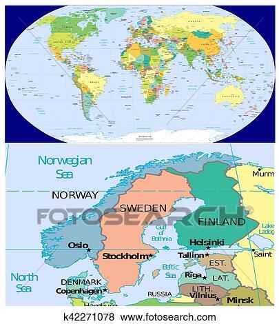 Karte Norwegen Schweden.Norwegen Schweden Finnland Dänemark Und Welt Stock Foto