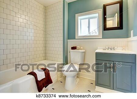 Colección de foto - nuevo, remodeled, azul, cuarto de baño, con ...