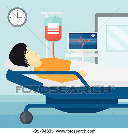 Clipart   Patient Lying In Hospital Bed.. Fotosearch
