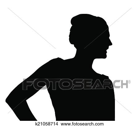 Silhouette Of Slim Girl Posing At Beauty Pageant Clipart K21058714