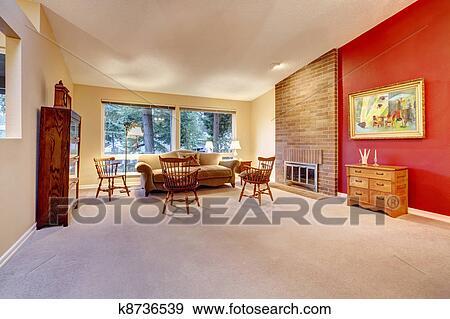 Soggiorno, con, mattone, caminetto, e, carpet. Archivio Fotografico