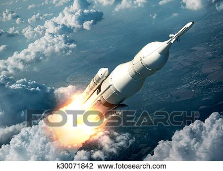 Space Launch System Flying Over The Clouds Drawing K30071842