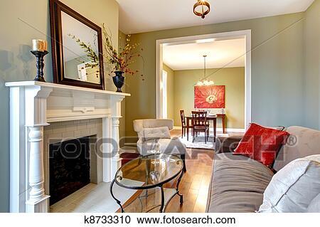Verde, elegante, soggiorno, con, caminetto, e, marrone, sofa ...