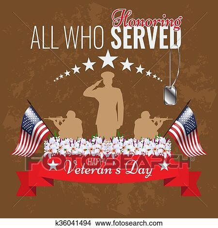 Clipart of veterans day background vector veteran greeting card veterans day background vector veteran greeting card ribbon for veterans veteran military soldier silhouette flowers and banner for veterans m4hsunfo