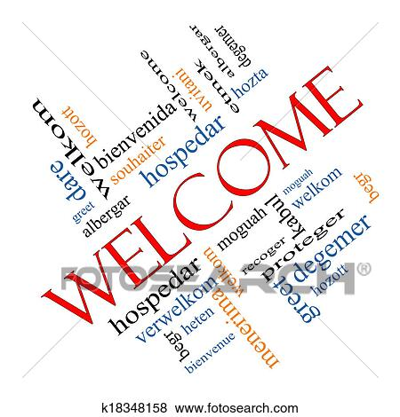 Pictures of welcome foreign language word cloud angled k18348158 welcome word cloud concept angled with welcome greetings in different languages such as hozta welkom begr bienvenida and more m4hsunfo