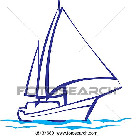 clip art of yacht silhouette sea voyage k8737689 search clipart rh fotosearch com yacht clipart png yacht clipart