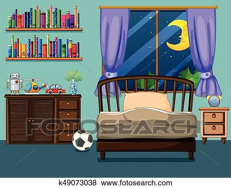 Bedroom Scene With Books And Toys Ilration