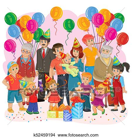Drawings Of Big Happy Family Together Celebrate A Birthday With