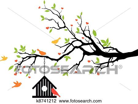 clipart of bird house on spring tree vector k8741212 search clip rh fotosearch com vector spring flowers vector spring interp