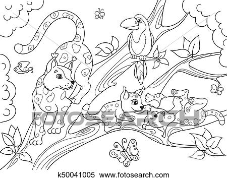 Childrens coloring book cartoon family of leopards on nature. Clipart