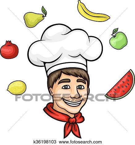 Dessin Animé Jeune Chef Dans Toque à Fruits Frais Clipart