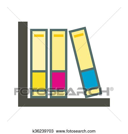 drawing of folders on the shelf icon k36239703 search clipart