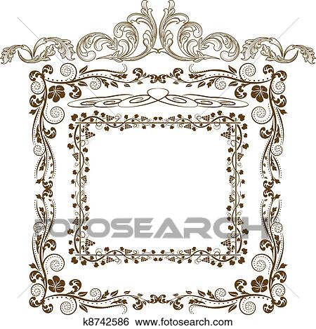 Clip Art of frames and ornaments k8742586 - Search Clipart ...