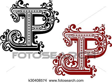 Hoofdletter, p, met, krullend, flourishes Clipart