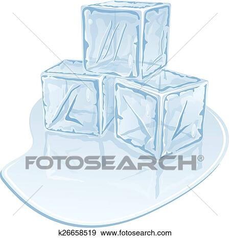 Clip Art Of Ice Cube Pile K26658519 Search Clipart Illustration