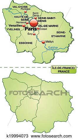 Map Of Yvelines France.Map Of Ile De France Clipart K19994073 Fotosearch