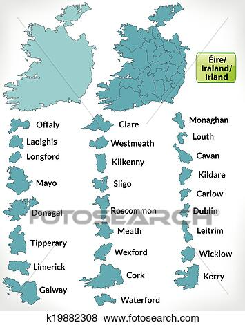 Westmeath Ireland Map.Map Of Ireland Clip Art K19882308