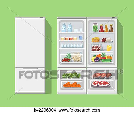Refrigerator Opened With Food Fridge Open And Closed With Foods