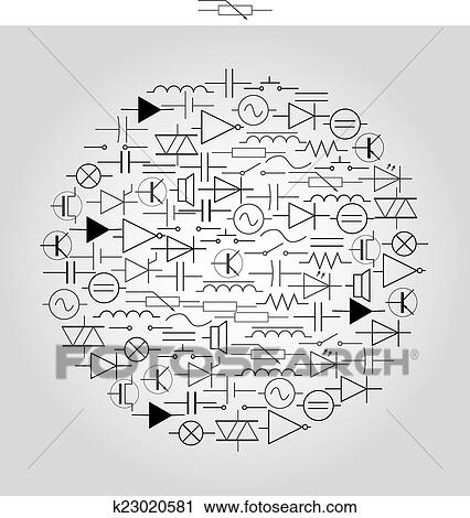 Clipart of schematic symbols in electrical engineering in circle ...