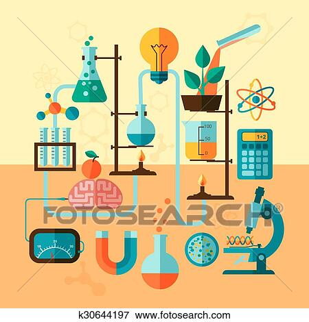Clip Art of Scientific research laboratory template poster k30644197 ...