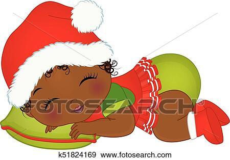 Vector Cute African American Baby Girl Wearing Christmas