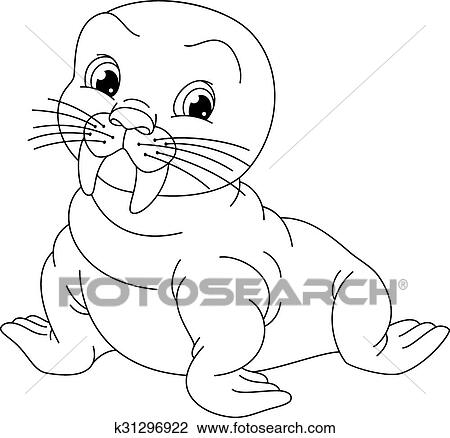 Walrus Coloring Page Clipart K31296922