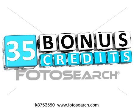 3D Get 35 Bonus Credits Block Letters Stock Image